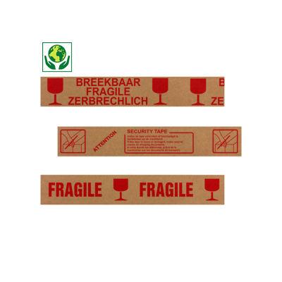 Papieren tape met voorbedrukte boodschap, 57 g/m²