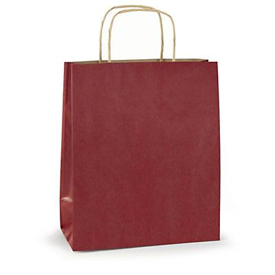 Papirposer med snøde håndtag i klassiske farver