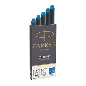 Parker Quink, cartouche d'encre pour stylo-plume, encre effaçable bleue
