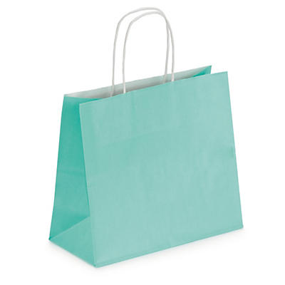 Pastel coloured Kraft paper carrier bags with twisted handles