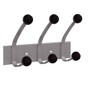 Patères  doubles 3 boules  gris métal Unilux
