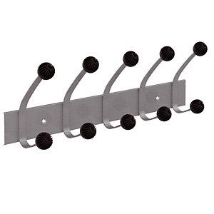 Patères doubles 5 boules  gris métal Unilux