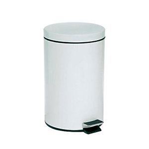 Pattumiera a pedale, Capacità 12 litri, Diametro cm 25 x 40 h, Bianco