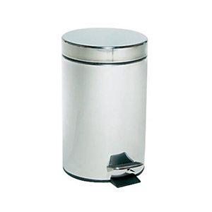 Pattumiera a pedale, Capacità 3 litri, Diametro cm 17 x 27 h, Inox