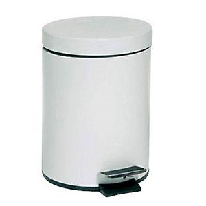 Pattumiera a pedale, Capacità 5 litri, Diametro cm 20,5 x 29 h, Bianco