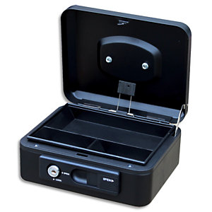 PAVO Caisse à monnaire 20cm/3compartim, ouverture auto bouton poussoir+serrure cylindrique Noire 8007516