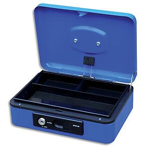 PAVO Caisse à monnaire 30cm/3 compartim, ouverture auto bouton poussoir+serrure cylindrique Bleue 8007530
