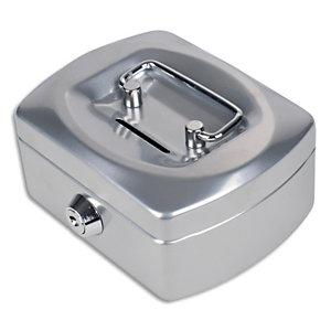 PAVO Caissette à monnaie 12,5cm fente d'insertion+6 compartiments internes Gris Argenté glossy 8007424