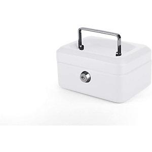 Pavo Caja de caudales con bandeja, 150 x 80 x 115 mm, color blanco