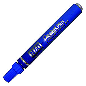 Pentel N60, Marcatore permanente, Punta a scalpello, 2,5 mm - 7 mm, Blu (confezione 12 pezzi)