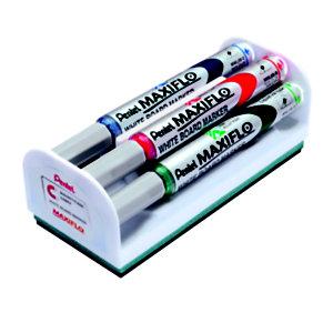 Pentel Set 4 Marcatori per lavagna bianca Maxiflo, Punta conica, Colori assortiti + 1 cancellino magnetico