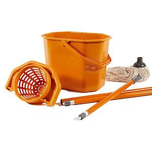 PERFETTO Kit per pavimenti Secchiostrizza - secchio con strizzatore 12 L + mop 240 gr + manico da 130 cm - arancione - Perfetto