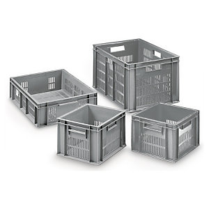 Perforated Euro plastic stacking containers