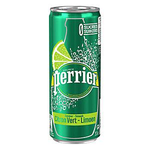Perrier Eau minérale naturelle gazeuse, saveur citron vert - canette 33 cl (pack de 6)