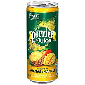 Perrier & Juice - Eau minérale gazeuse, aux jus de d'Ananas et de Mangue - Canette 25 cl