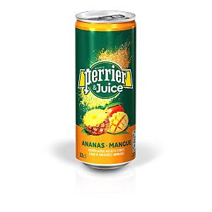 Perrier & Juice - Eau minérale gazeuse, aux jus de d'Ananas et de Mangue - Canette 33 cl - Lot de 24