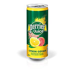Perrier  & Juice - Eau minérale gazeuse aux jus de Citron et de Goyave - Canette 33 cl