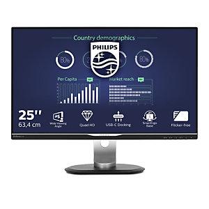 "Philips B Line Moniteur LCD avec port USB-C 258B6QUEB/00, 63,5 cm (25""), 2560 x 1440 pixels, Quad HD, LCD, 5 ms, Noir"