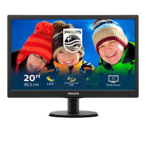 """Philips V Line Moniteur LCD avec SmartControl Lite 203V5LSB26/10, 49,5 cm (19.5""""), 1600 x 900 pixels, HD+, LED, 5 ms, Noir"""