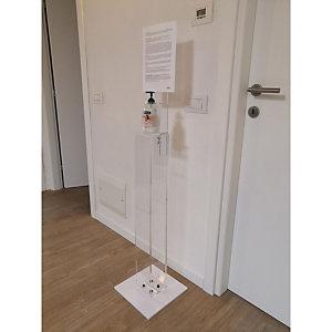 Piantana per dispenser gel igienizzante con espositore, altezza max 145 cm, Trasparente