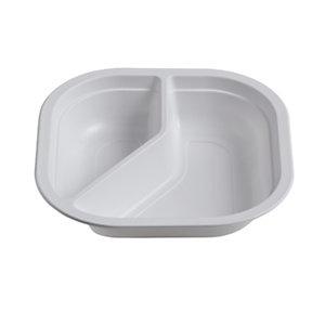 Piatto fondo quadrato biscomparto monouso in Mater-Bi Linea IlipBio, Ecologico, 18 x 18 x 4 cm, 22 g, Bianco