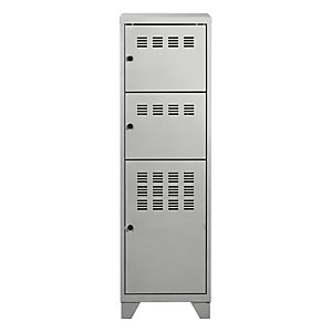PIERRE HENRY Casillero metálico, altura 134 cm, 3 puertas, aluminio