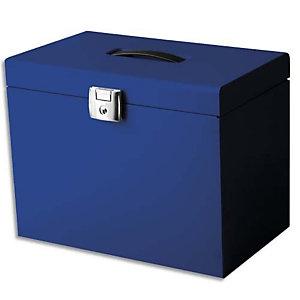 PIERRE HENRY Valise de classement en métal. Livrée avec 5 dossiers. Dim: 36,5x28x22 cm. Coloris Bleu