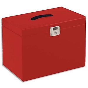 PIERRE HENRY Valise de classement en métal. Livrée avec 5 dossiers. Dim: 36,5x28x22 cm. Coloris Rouge
