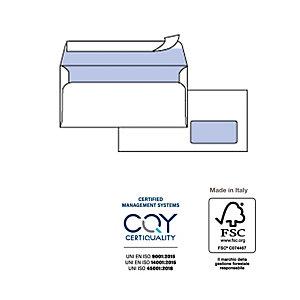PIGNA Busta bianca con finestra - serie Edera Strip - 110x230 mm - 90 gr - Pigna - conf. 500 pezzi
