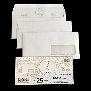 PIGNA Buste in carta riciclata Kami, Con finestra, Strip adesivo, 11 x 23 cm (confezione 25 pezzi)