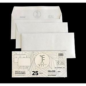 PIGNA Buste in carta riciclata Kami, Senza finestra, Strip adesivo, 11 x 23 cm (confezione 25 pezzi)