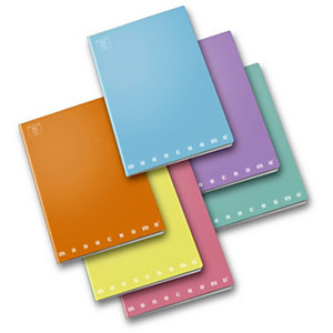 PIGNA Monocromo Pastel Quaderno A4, 42 fogli a righe, Senza margini, Copertina plastificata, Colori assortiti (confezione 10 pezzi)
