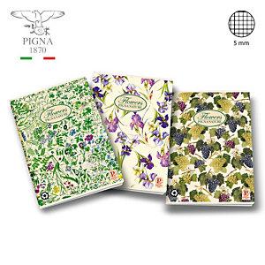 PIGNA Quaderni Nature, 42 fogli a quadretti 5 mm, Senza margini, Copertina in cartoncino, Colori assortiti (confezione 10 pezzi)