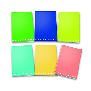 PIGNA Quaderno Monocromo Green, A4, 42 fogli a quadretti 5 mm, Copertina plastificata, Colori assortiti (confezione 10 pezzi)