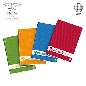 PIGNA Quaderno Quablock, A4, Quadretto 5 mm, Colori assortiti (confezione 5 pezzi)