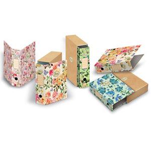 PIGNA Registratore archivio Nature Flowers, Formato Protocollo, Dorso 8 cm, Cartone riciclato, Fantasie assortite