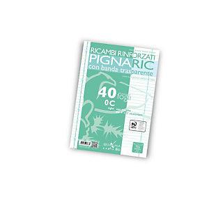 PIGNA Ricambi rinforzati PIGNARIC, Formato A4, Rigatura 0C (confezione 40 fogli)
