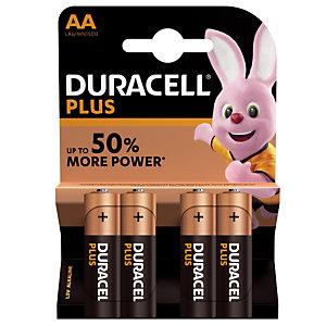 Piles Duracell Plus  AA / LR6, lot de 4 piles