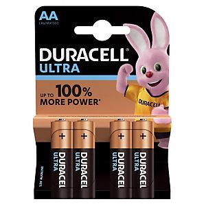 Piles Duracell Ultra AA / LR6, lot de 4 piles