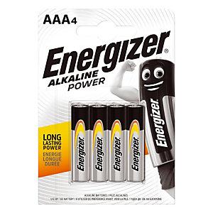 Piles Energizer Alkaline Power LR03 - AAA, le lot de 4