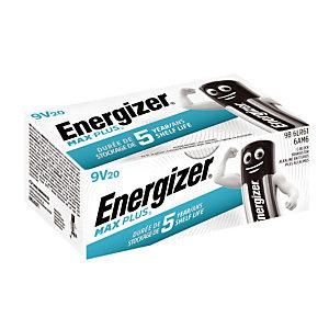 Piles Energizer Max Plus Business 9V, lot de 20 piles