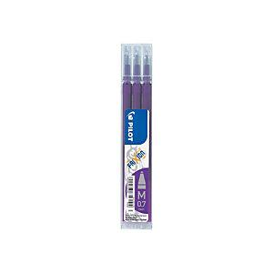 PILOT FriXion, recharge pour stylo à encre gel, pointe moyenne de 0,7 mm, encre violette (lot de 3)