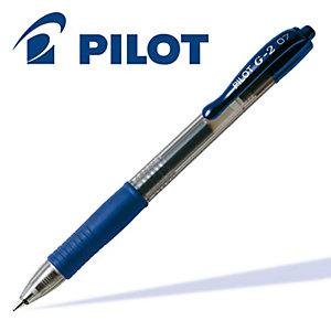 Pilot G-2 Penna gel a scatto, Punta fine da 0,7 mm, Fusto blu con grip, Inchiostro blu (confezione 12 pezzi)