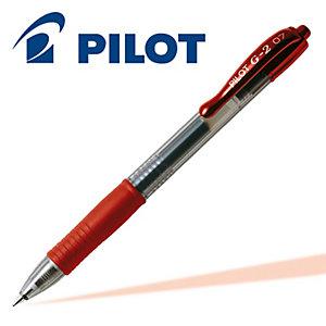 Pilot G-2 Penna gel a scatto, Punta fine da 0,7 mm, Fusto rosso con grip, Inchiostro rosso (confezione 12 pezzi)