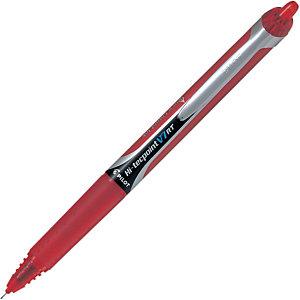 Pilot Hi-Tecpoint V7 RT Bolígrafo retráctil de punta de bola con tinta líquida, punta mediana de 0,7 mm, cuerpo rojo con grip, tinta roja
