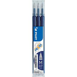 Pilot Recharge pour stylo roller encre gel effaçable FriXion Ball et FriXion Clicker pointe moyenne 0,7 mm bleu nuit - Pochette de 3