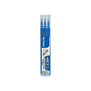 Pilot Recharge pour stylo roller encre gel effaçable FriXion Ball et FriXion Clicker pointe moyenne 0,7 mm bleu - Pochette de 3