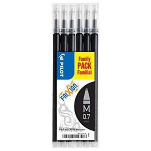 Pilot Recharge pour stylo roller encre gel effaçable FriXion Ball et FriXion Clicker pointe moyenne 0,7 mm noir - Pochette de 6