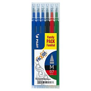 Pilot Recharge pour stylo roller encre gel effaçable FriXion Ball et FriXion Clicker pointe moyenne 0,7 mm - Pochette de 6 couleurs assorties