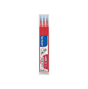 Pilot Recharge pour stylo roller encre gel effaçable FriXion Ball et FriXion Clicker pointe moyenne 0,7 mm rouge - Pochette de 3